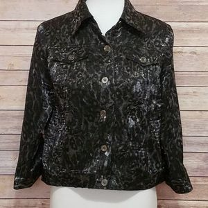 Ruby Rd. Shimmery Black/Gray Leopard Jacket/Top 8P